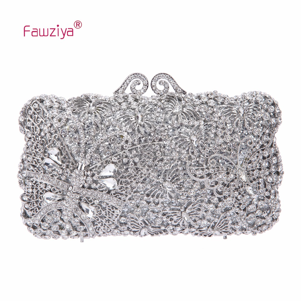 Fawziya Silver Clutch Bag Kisslock Handbags For Women Bags And Clutches Crystal Clutch kisslock chain bag