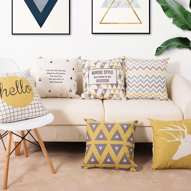 HTB1Hzk9ahz1gK0jSZSgq6yvwpXau Cushion 45*45Two side printed Soft Cotton linen blend Cartoon stripes tropical plants European style Pastoral