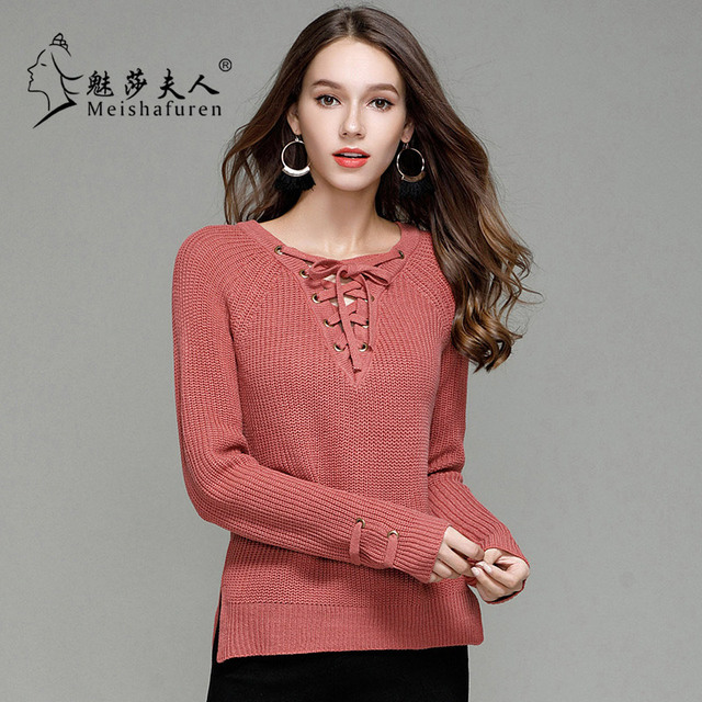 2018 Women V Neck Knitted Sweater Striped Bandage Cross Ties Pullover Loose  Casual Long Knitwear Jumper 004b6d889