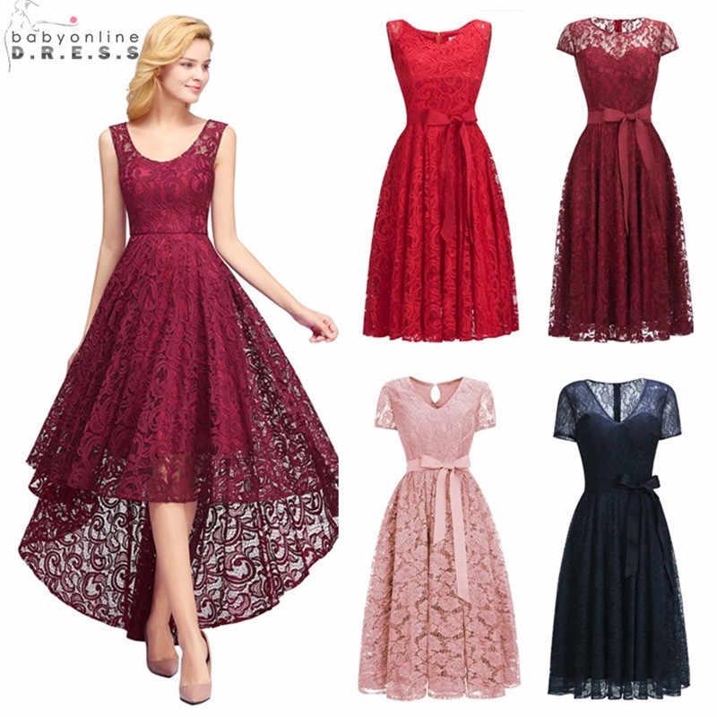 Sexy Illusion High Low Lace Cocktail Dresses Elegant Plus Size 2-26W Short Party Dresses Vestidos Coctel Robe de Cocktail