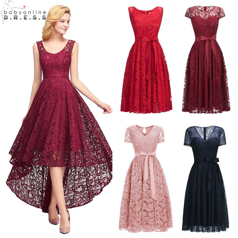 Sexy Illusion High Low Lace   Cocktail     Dresses   Elegant Plus Size 2-26W Short Party   Dresses   Vestidos Coctel Robe de   Cocktail