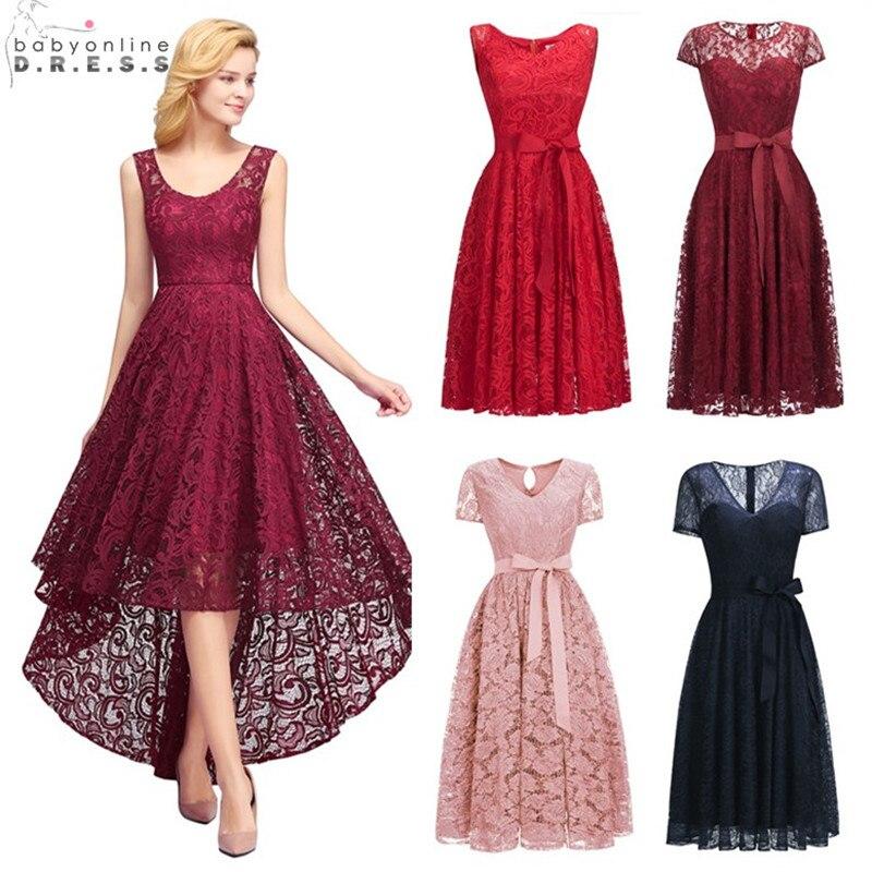 ab04be87c Sexy Illusion High Low Lace Cocktail Dresses Elegant Plus Size 2-26W Short Party  Dresses Vestidos Coctel Robe de Cocktail