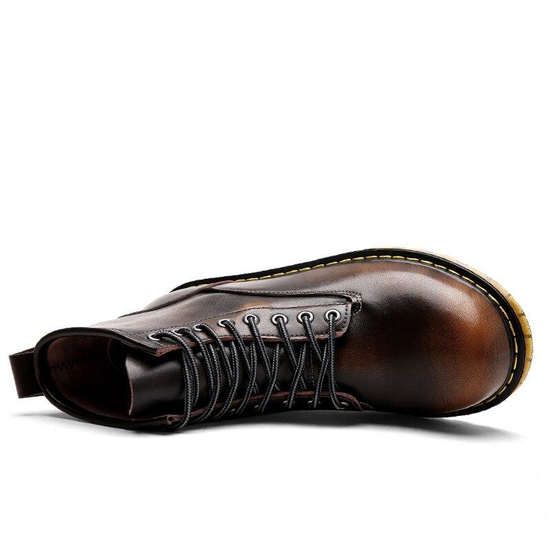 LanLoJer haute qualité en cuir véritable automne hommes bottes hiver bottes imperméables Mart bottes de travail en plein air bottes hommes chaussures - 3