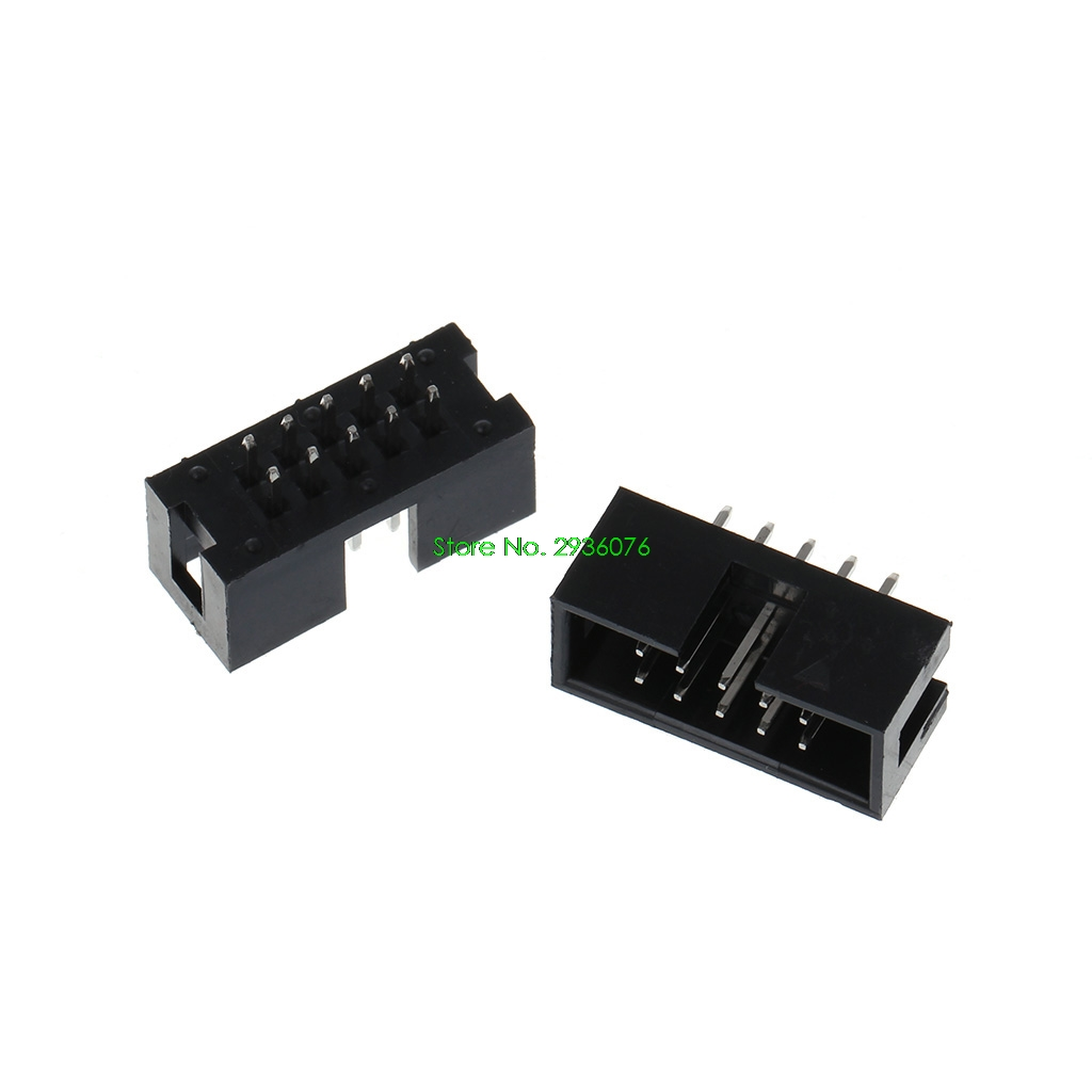 10 Pcs DC3 10 Pin 2x5 Pin Double Row 2.54mm Pitch Straight Pin Male IDC Box Header Connector Drop Shipping Support