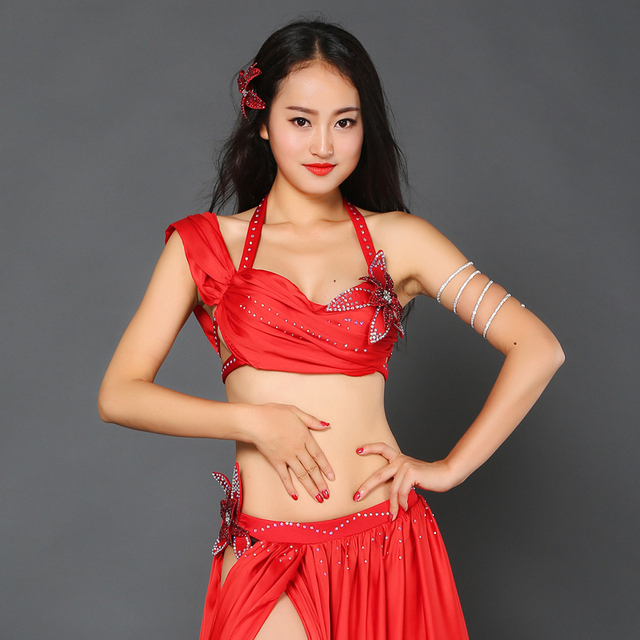 Girls luxury dance clothing satin bra skirt 2pcs belly dance set women  belly dance set dancer s Performance suit B C cup a9c862a3cbaa
