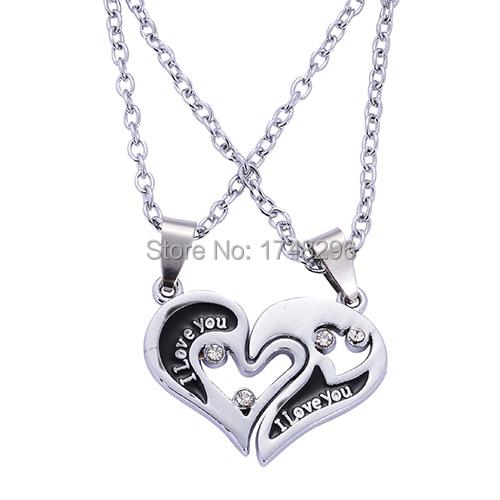 New i love u split heart puzzle couple lover pendant necklaces for new i love u split heart puzzle couple lover pendant necklaces for womens and mens jewelry aloadofball Gallery