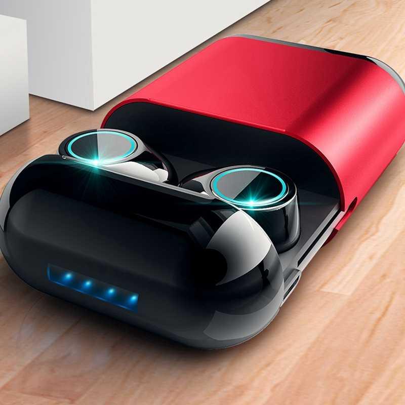 Tws zestaw słuchawkowy bluetooth bezprzewodowy zestaw słuchawkowy bluetooth stereo z mikrofonem i futerał