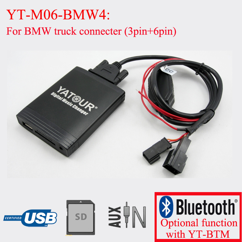 Yatour digital cd  changer Car stereo USB bluetooth adapter for BMW yatour car adapter aux mp3 sd usb music cd changer cdc connector for nissan 350z 2003 2011 head unit radios