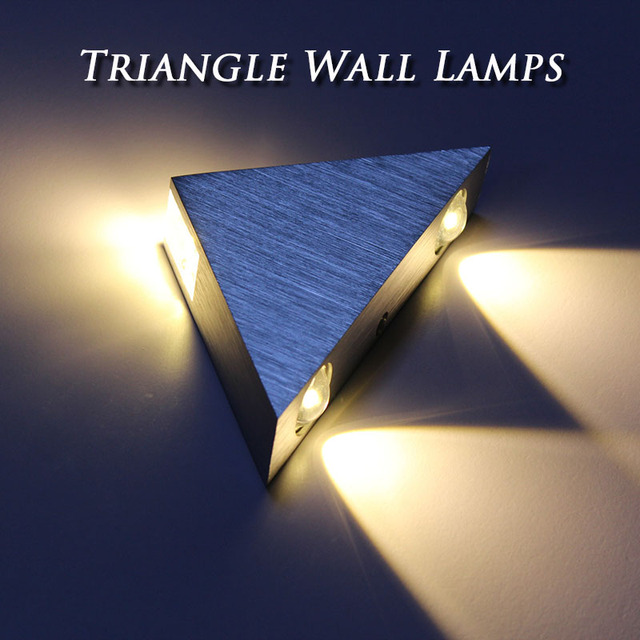 Free Shipping 3W Aluminum Triangle led wall lamp AC85-265V high power Modern Home lighting indoor and outdoor decoration light