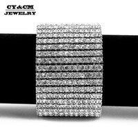 CY&CM Hip hop Men's Bracelet Bangle Silver Gold Color 12 Row Bling AAA Rhinestones Crystal Bracelet Chain Rock Punk Jewelry 8