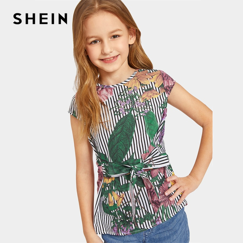 SHEIN Kiddie Tie Waist Striped And Floral Print Cute Girls Tops Kids Clothing 2019 Summer Casual Sleeveless For Children Blouses striped star print irregular dress