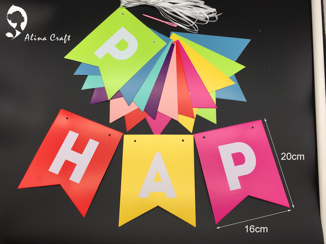AlinaCraft 16x20cm Happy Birthday Banner Golden Glitter Letters Rainbow 7 Color Background Hanging For Party