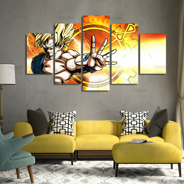 5 Panels Fashion dragon ball z Paintings Wall Art Home Decoration 5 ...