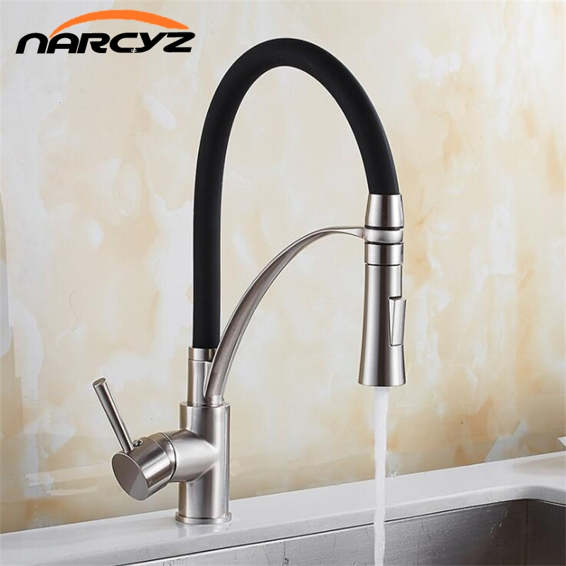 Kitchen Mixer Sink Faucet Brass Brushed Nickel /Black Torneira Tap Kitchen Faucets Hot Cold Deck Mounted Bath Mixer Tap XT-143