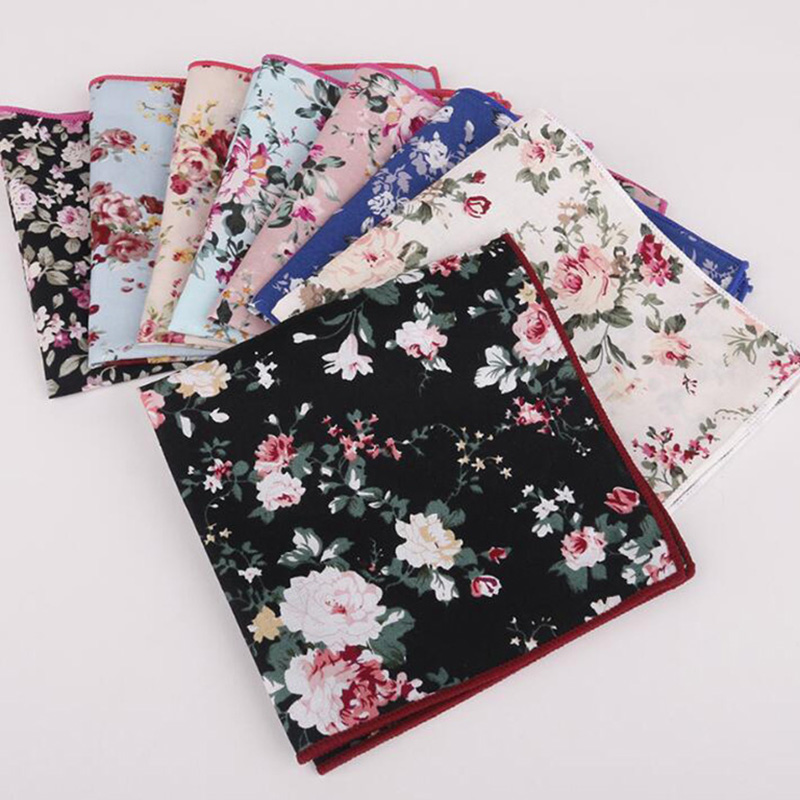 RBOCOTT Floral Pocket Square Printed Handkerchief Cotton Hanky For Men Wedding Size 25cm*25cm Men's Business Party Accessories