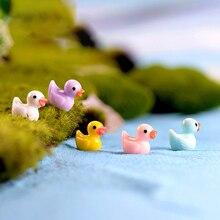 10pcs/Set Mix Color Duck Miniature Chicken Figurines For Bonsai Decoration Micro Landscape Garden Decor