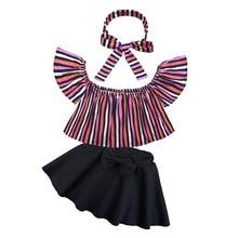 ФОТО children girls clothes off shoulder crop tops stripes+ black bow short skirt + stripes headband 3pcs toddler kids clothing