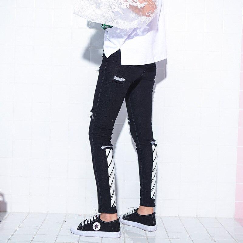 Harajuku De Silm Lápiz Otoño Salvaje Moda longitud Vaqueros Negro Primavera Agujeros Pantalones Elasticidad Tobillo Mujer IUnSw8