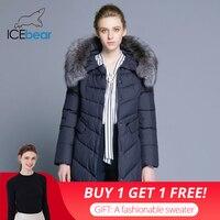 ICEbear 2018 Collar of Natural Fur Coat Women's Jacket parkas Bio down Warm Thickening Cotton Padded Female Jacket Coat 17G6560D