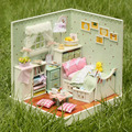DIY Wooden Doll House Miniature Kit Dollhouse Room coner Music box/Voice control with English instruction DOLLS HOUSE