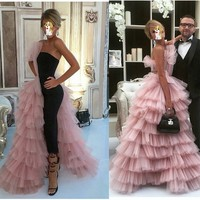 Sexy Evening Dresses Prom Gown Party Time Formals With Strapless Pink Long Evening Dress Backless Off Shoulder Floor length