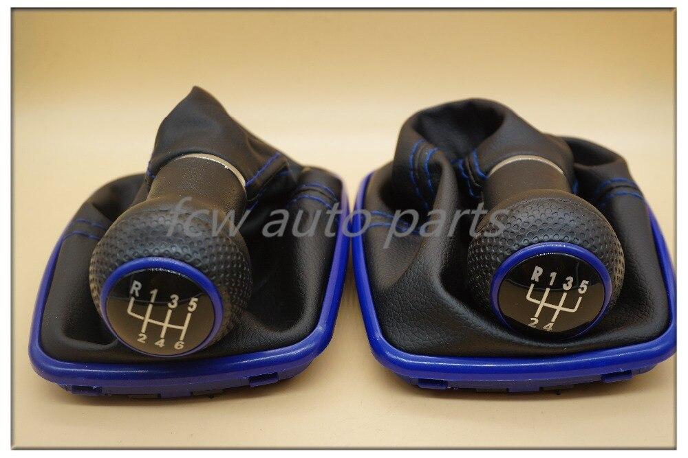 23mm 5/6 Speed Blue Gear Shift Knob Shifter Gaitor Boot For Volkswagen VW Golf 4 IV MK4 GTI R32 Bora Jetta 1999-2004