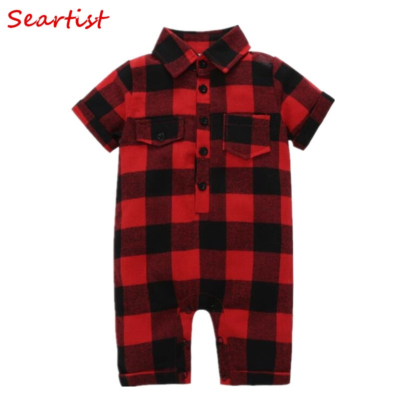 Seartist Baby Boys Girls Jumpsuit Red Plaid Short Sleeved Christmas Romper Body Suit Newborn Infant Bebes Boy Clothes Shorts 30C plaid tailored jumpsuit