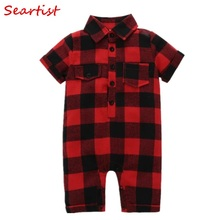 Seartist Baby Boys Girls Jumpsuit Red Plaid Summer Short Romper Body Suit Newborn Clothes Bebes 2019 New 30C