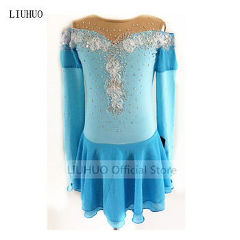 High-end customization Figure Skating Dress Women's Girls' Ice Skating Dress Sky blue high elastic fabric hand decoration