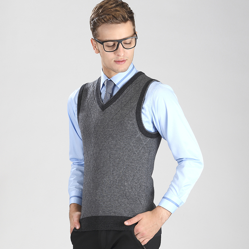 Autumn and winter men casual v neck plaid sweater vest pullover ...