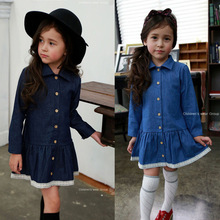 Girls Denim Lace Dress 2016 Children Clothing Autumn Casual Style Girls Clothes Turn-Down Collar Dress Kids Clothes