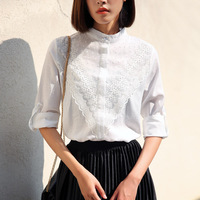 2018 Spring New Lace Stand Collar Female Long Sleeve Shirt Loose Thin Blouse Sweet Shirt White