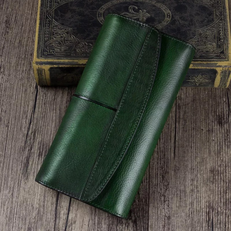 Vintage Designer Genuine Leather Women s Clutch Purse Cow Skin Blackish Green Female Large Trifold Wallet