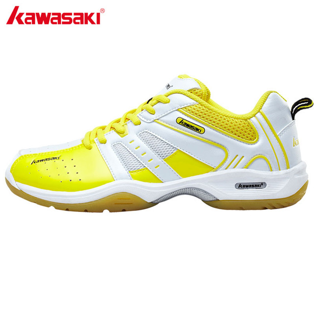 KAWASAKI Yellow Lace-Up Badminton Shoes for Men Professional Anti-Slippery Breathable Athlete Indoor Court Sports Shoe