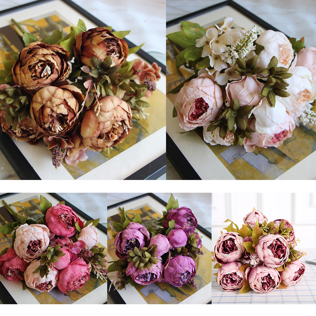 Artificial Silk Peony Bouquets 6 Big Flowers for Wedding Party ...