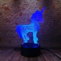 3D Creative Luminaria Unicorn LED Table Lamp Lantern 7 Color Change Night light Lampe Led Cartoon Usb Light Xmas New Year Gifts 2