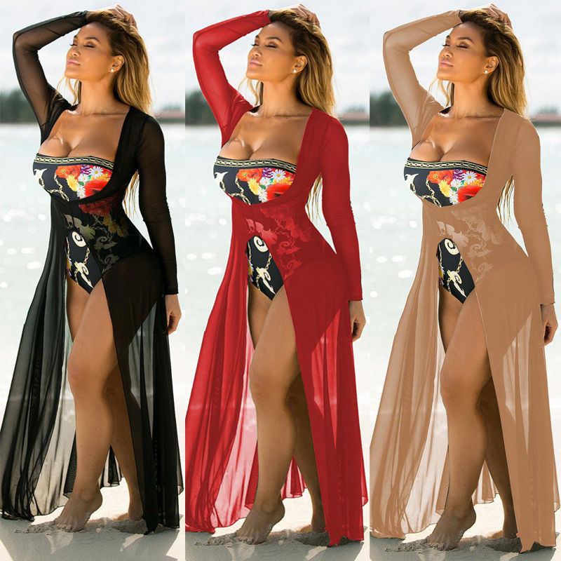 Swimsuit Cover Up 2017 Women Sexy Beach Cover-Up Chiffon Long Dress Solid Beach Cardigan Bathing Suit Cover Up Bathingsuit Dress
