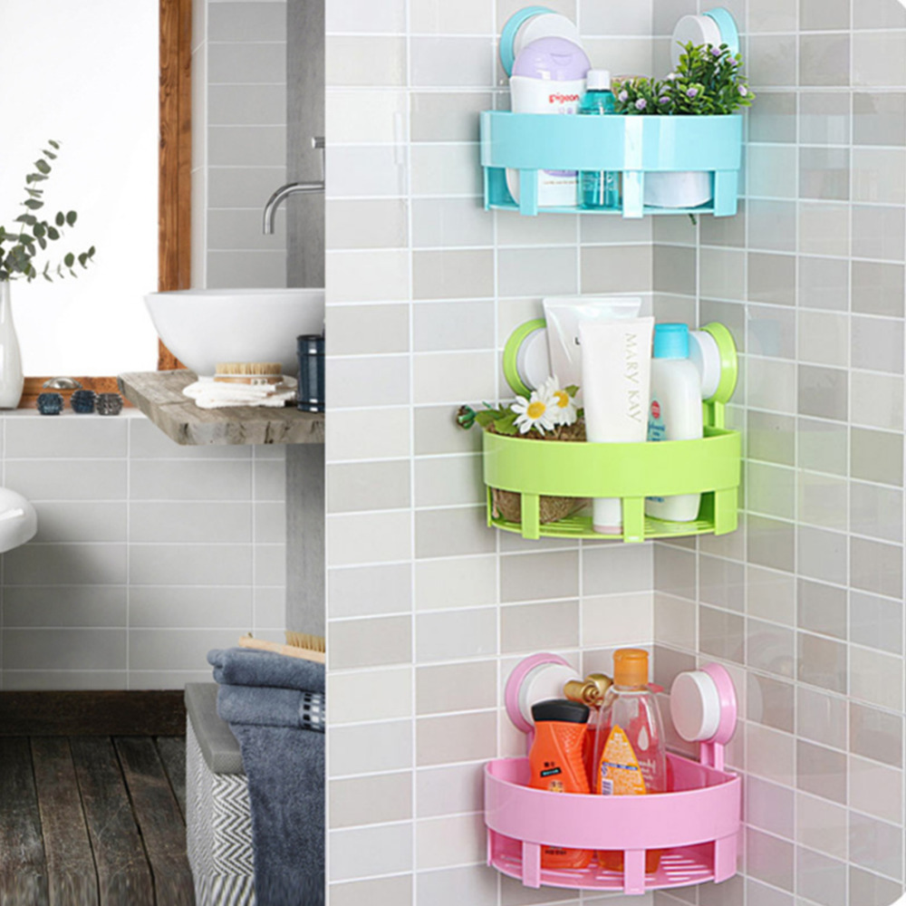 1Pc Bathroom Suction Corner Racks Toilet Storage Rack Shelf Wall Mounted Wall  Holder Bathroom Kitchen Shelf
