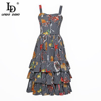 LD LINDA DELLA New 2018 Fashion Runway Designer Ruffle Dress Women S Spaghetti Strap Vintage Plaid