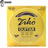 ZIKO DCZ 010 011 012 Akustische gitarre saiten Messing carbon steel hexagonal legierung saiten für akustische gitarre zubehör teile