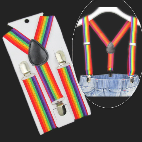 BD011-S-Fashion Baby Braces Rainbow Striped Suspenders 2.5*65cm 3 Clips-on Children Apparel Accessories