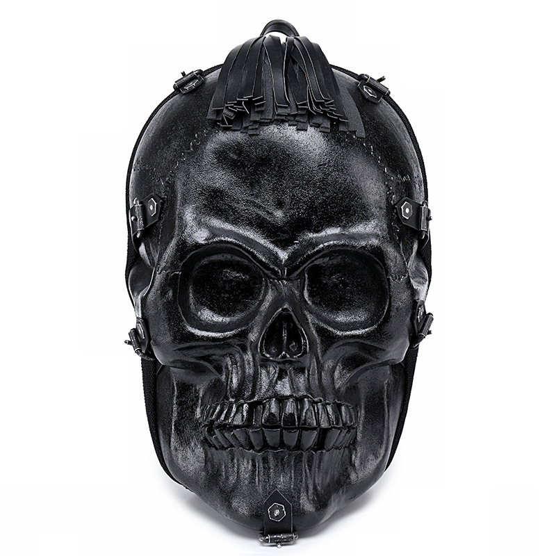 Punk Skull 3d Backpack Halloween Black Rock Shoulder Bag Pu Leather Tassels Bag Men Women Large Capacity Laptop School Bags