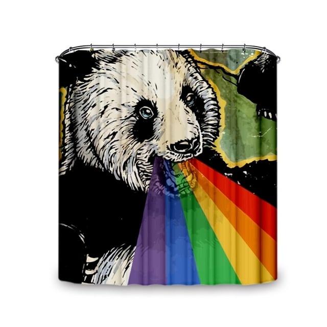Panda & Rainbow Pattern Waterproof Fabric Shower Curtain Single ...