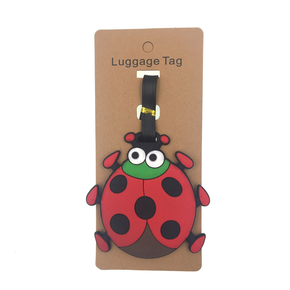 Cartoon Ladybug Luggage Tag Travel Accessories Women Silica Gel Suitcase ID Address Holder Baggage Boarding Tag Portable Label