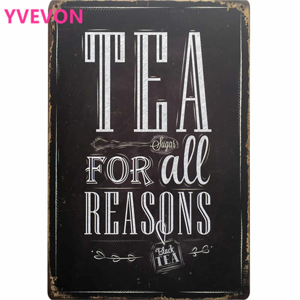 TEA FOR ALL SEASONS Vintage Tin Tea Plates Letter Board Sign Metal Decor Poster Plate Black Wall Plaques Art  20x30cm