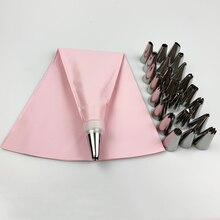 Saco de silicone com bicos para confeiteiro, saco de bicos de confeiteiros de cozinha 26 pçs/set, diy, bicos de creme de gelo, sacos reutilizáveis + 24 conjunto de bico, bolo, imperdível ferramentas de decoração