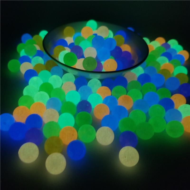 200Pcs 6-12mm Glow In The Dark Fishing Loose Beads For Woman Men Luminous Locket Necklace DIY Jewelry Making Acrylic Beads(China)