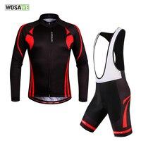 WOSAWE Long Pro Quick Dry Cycling Jersey Bib Shorts Outdoor Sports Bicicleta Jacket MTB Riding Clothes