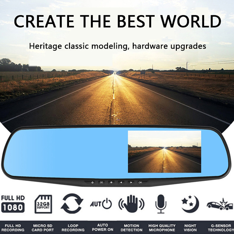 Vehemo 140 Degrees Night Vision Rearview Mirror Car DVR Motion Detection Driving Recorder Dash Cam Loop Recording HD1080P