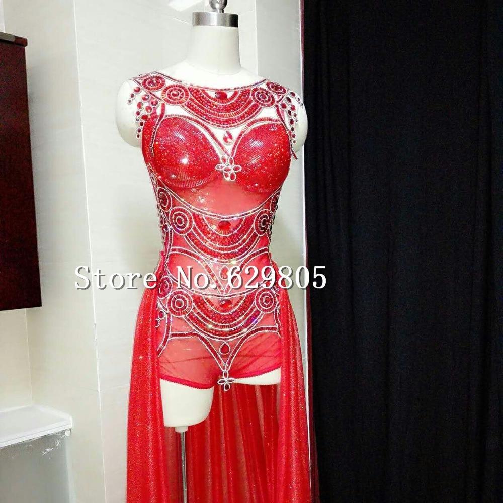 Strass Lumineux Body Jupe Justaucorps Spectacle de Costume Chanteuse Dj Mousseux Rouge Diamant Sexy Paillettes Ruby Train